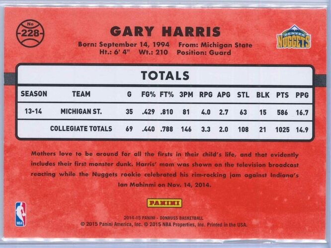 Gary Harris Panini Donruss Basketball 2014 15 Rated Rookie Purple Press Proof 018199 2
