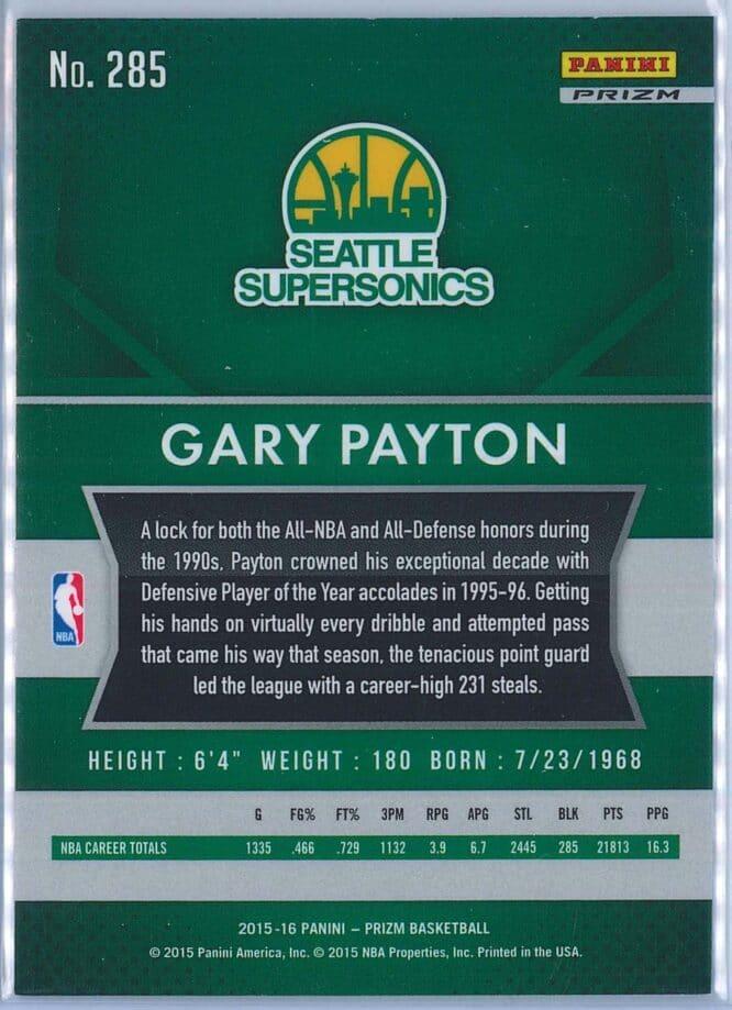 Gary Payton Panini Prizm Basketball 2015 16 Base Red White Blue Parallel 2