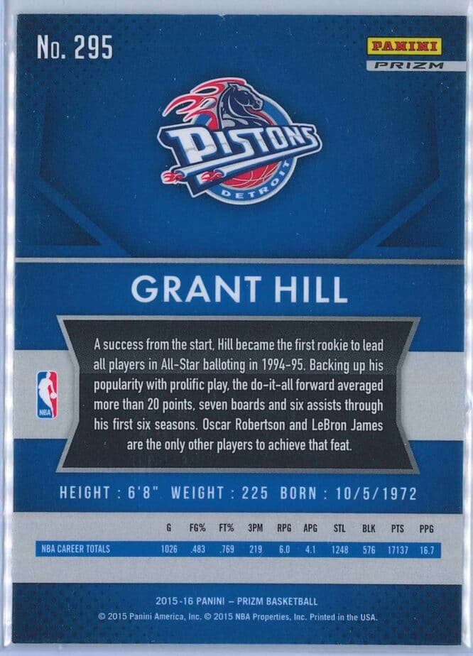 Grant Hill Panini Prizm Basketball 2015 16 Base Red White Blue Parallel 2