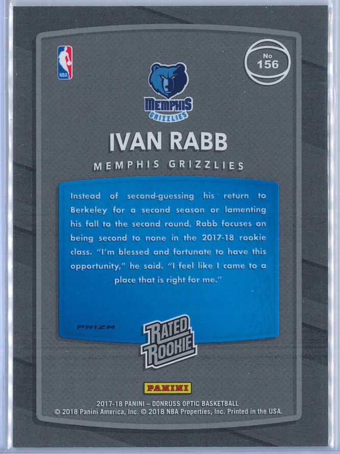 Ivan Rabb Panini Donruss Optic Basketball 2017 18 Rated Rookie Holo Fast Break Parallel 2