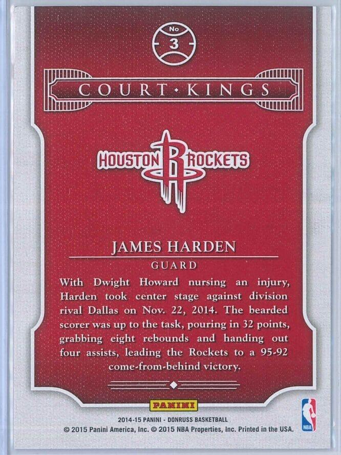James Harden Panini Donruss Basketball 2014 15 Court Kings 2
