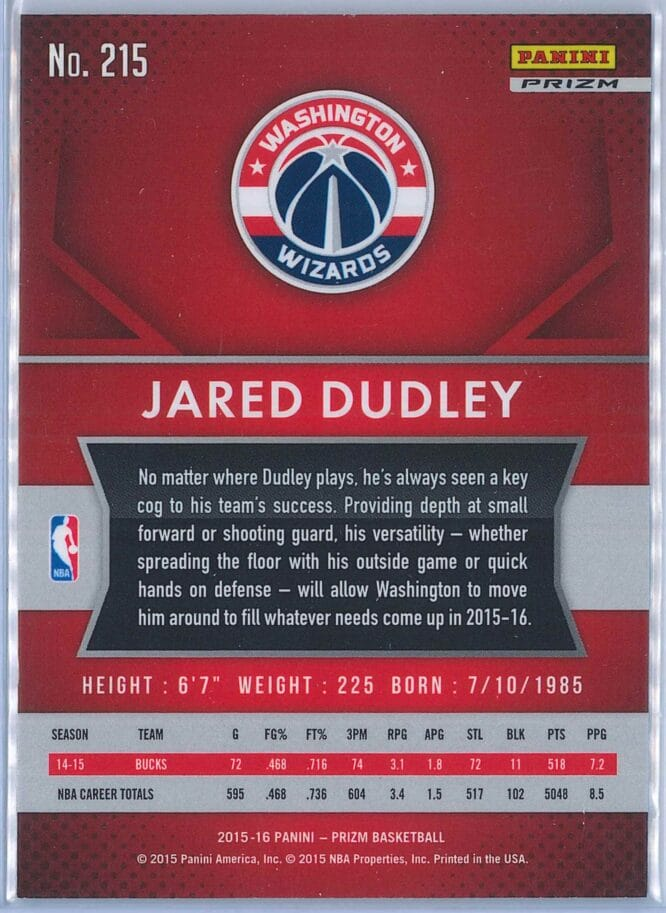 Jared Dudley Panini Prizm Basketball 2015 16 Base Red White Blue Parallel 2