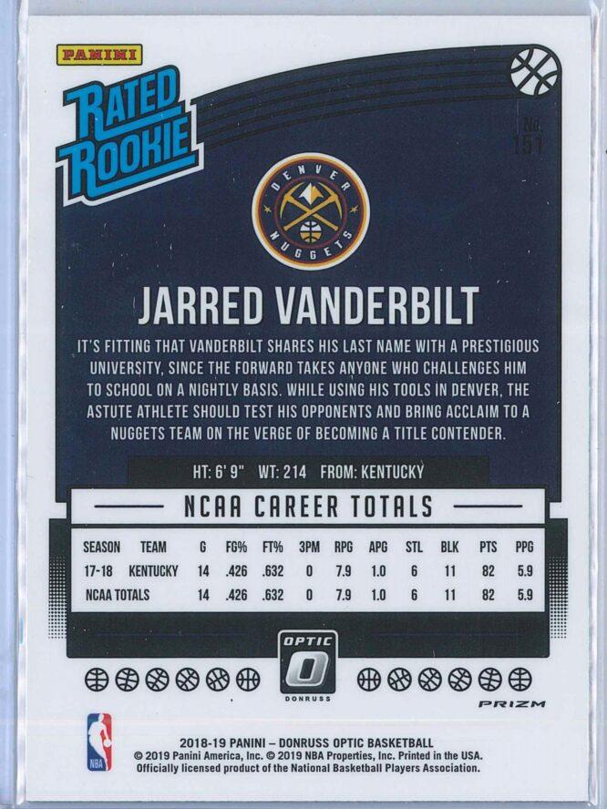 Jarred Vanderbilt Panini Donruss Optic Basketball 2018 19 Rated Rookie Blue Velocity 2