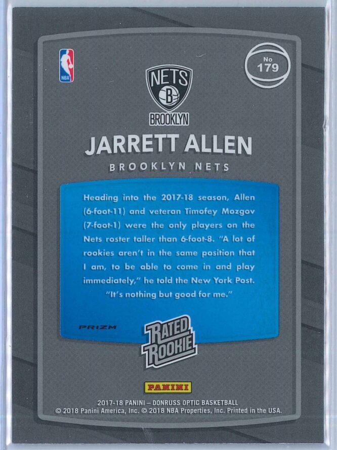 Jarrett Allen Panini Donruss Optic Basketball 2017 18 Rated Rookie Purple Parallel 2