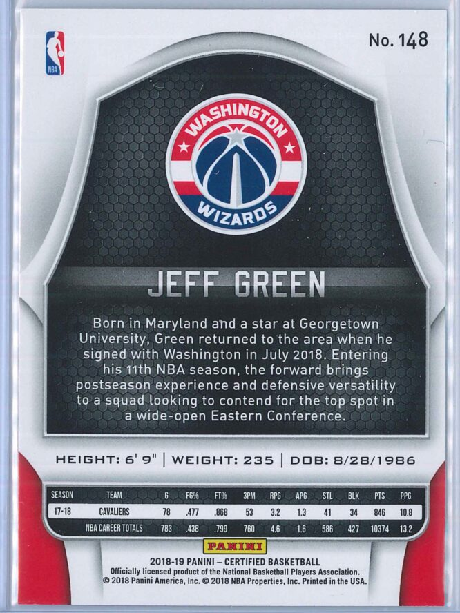 Jeff Green Panini Certified Basketball 2018 19 Base 2