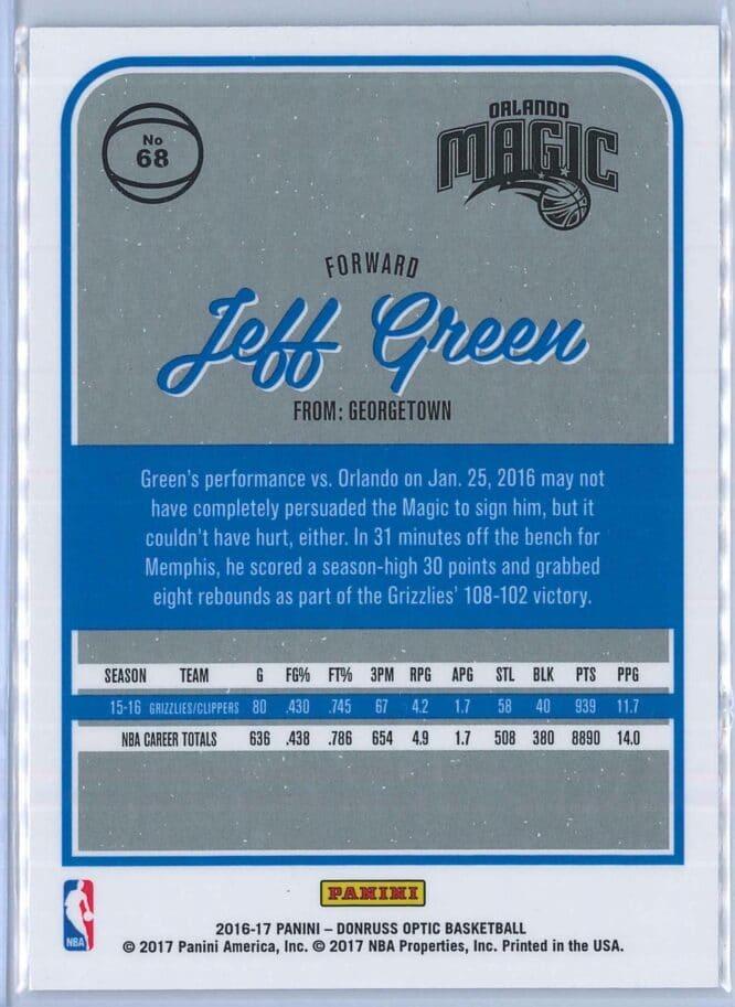 Jeff Green Panini Donruss Optic Basketball 2016 17 Base 2