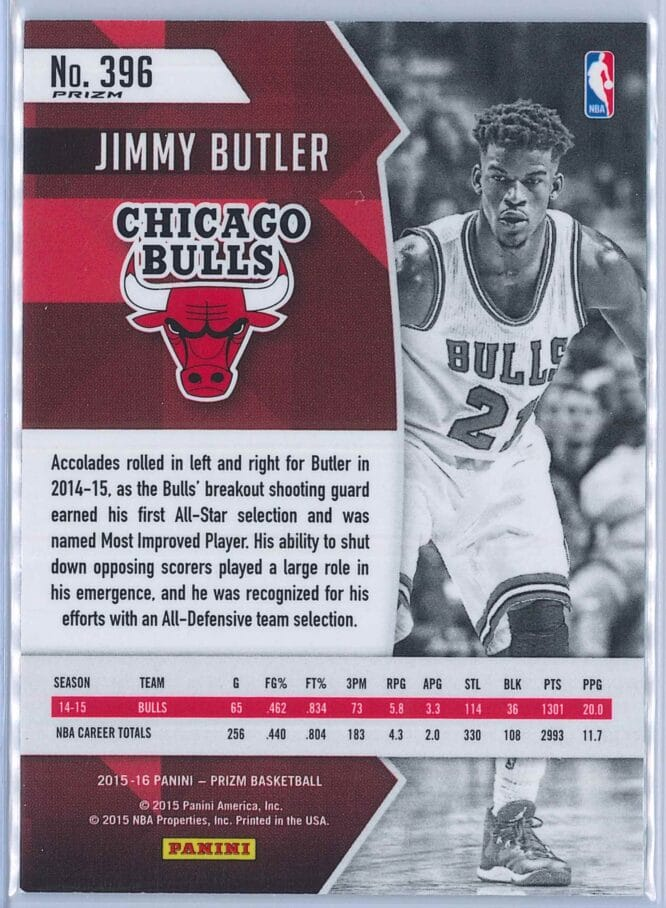 Jimmy Butler Panini Prizm Basketball 2015 16 2014 15 All NBA Red White Blue Parallel 2