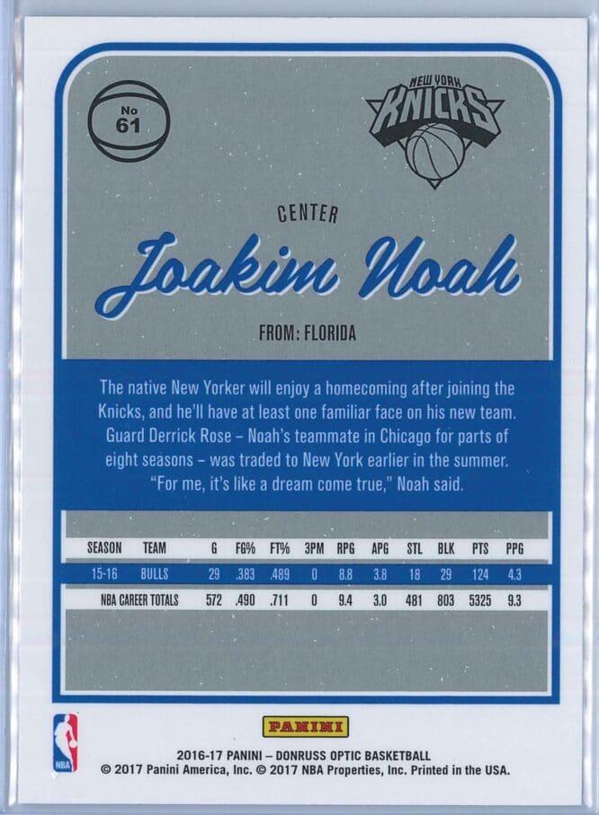 Joakim Noah Panini Donruss Optic Basketball 2016 17 Base 2