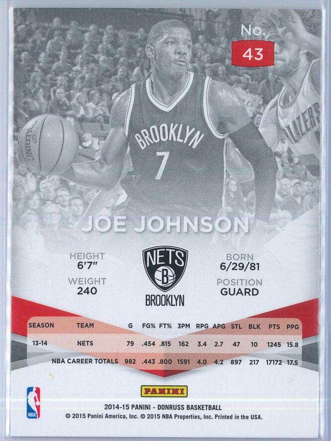 Joe Johnson Panini Donruss Basketball 2014 15 Elite Red 1425 2