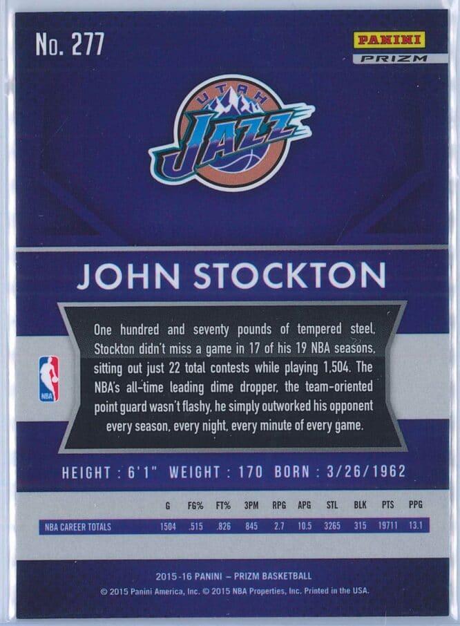 John Stockton Panini Prizm Basketball 2015 16 Base Red White Blue Parallel 2
