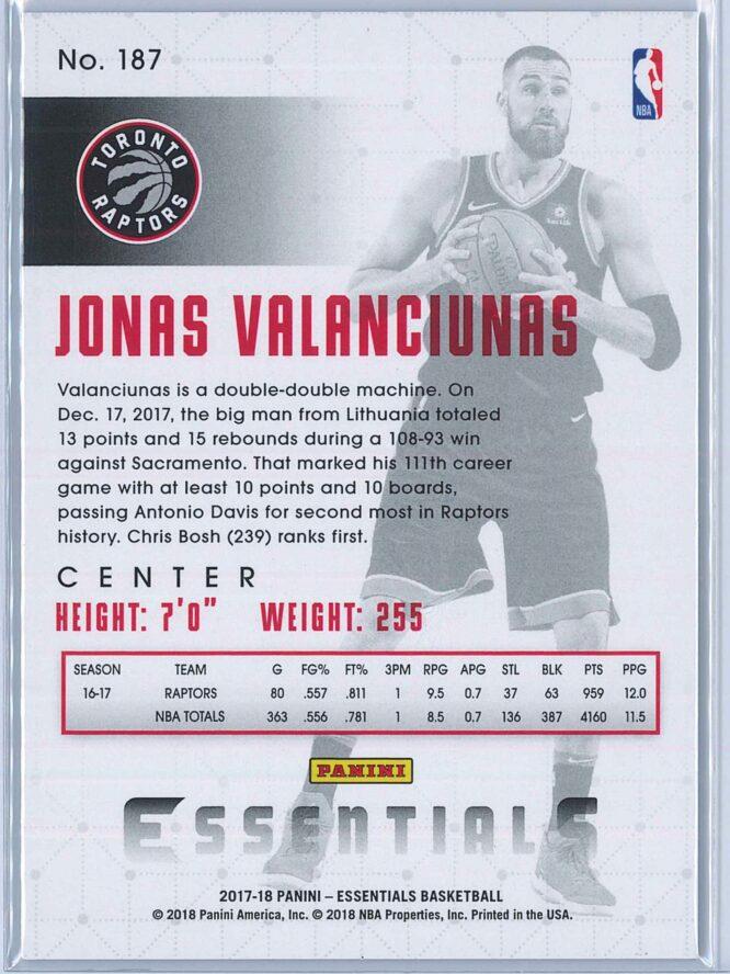 Jonas Valanciunas Panini Essentials Basketball 2017 18 Base Green 2