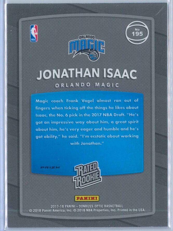 Jonathan Isaac Panini Donruss Optic Basketball 2017 18 Rated Rookie Holo Fast Break Parallel 2