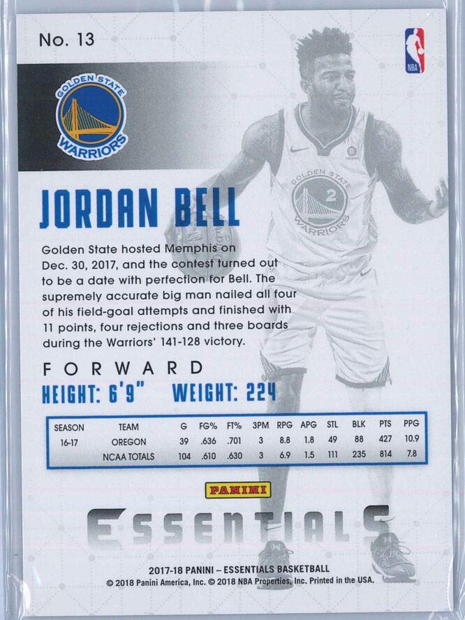 Jordan Bell Panini Essentials Basketball 2017 18 Base Green RC 2