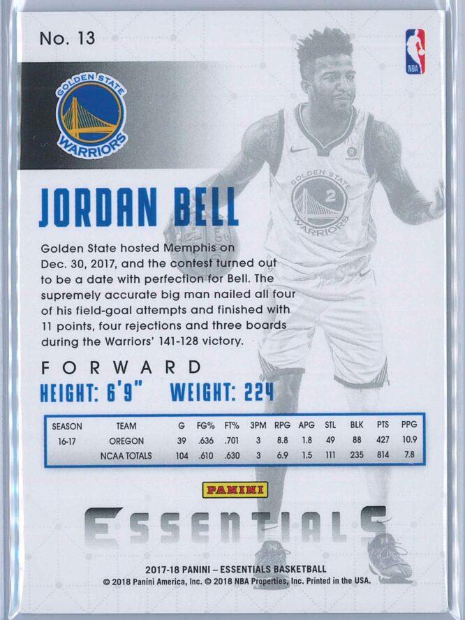 Jordan Bell Panini Essentials Basketball 2017 18 Base Spiral RC 2