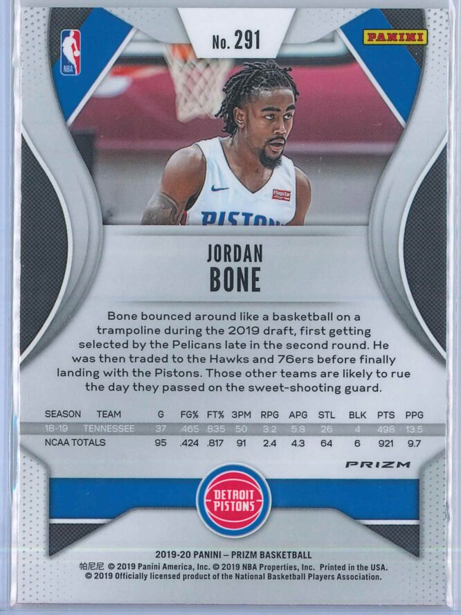 Jordan Bone Panini Prizm Basketball 2019 20 Base Orange Ice Parallel RC 2