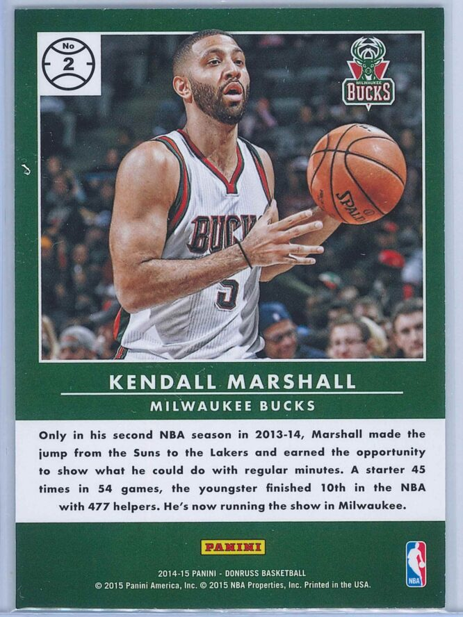 Kendall Marshall Panini Donruss Basketball 2014 15 Production Line 2
