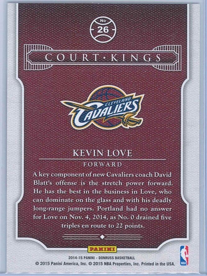 Kevin Love Panini Donruss Basketball 2014 15 Court Kings 2