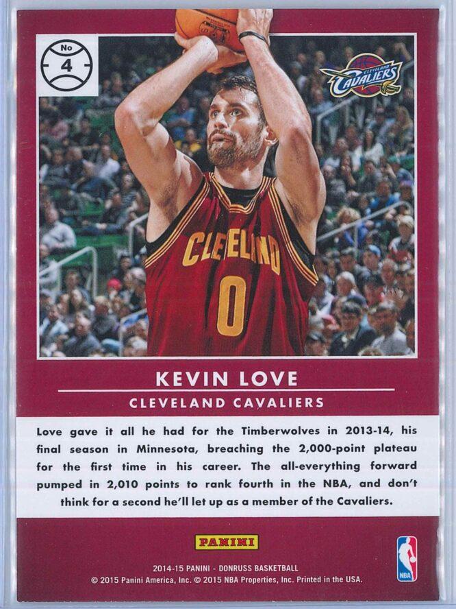 Kevin Love Panini Donruss Basketball 2014 15 Production Line 2