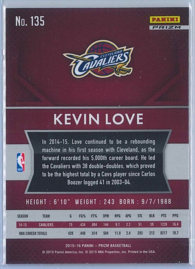 Kevin Love Panini Prizm Basketball 2015 16 Base Red White Blue Parallel 2