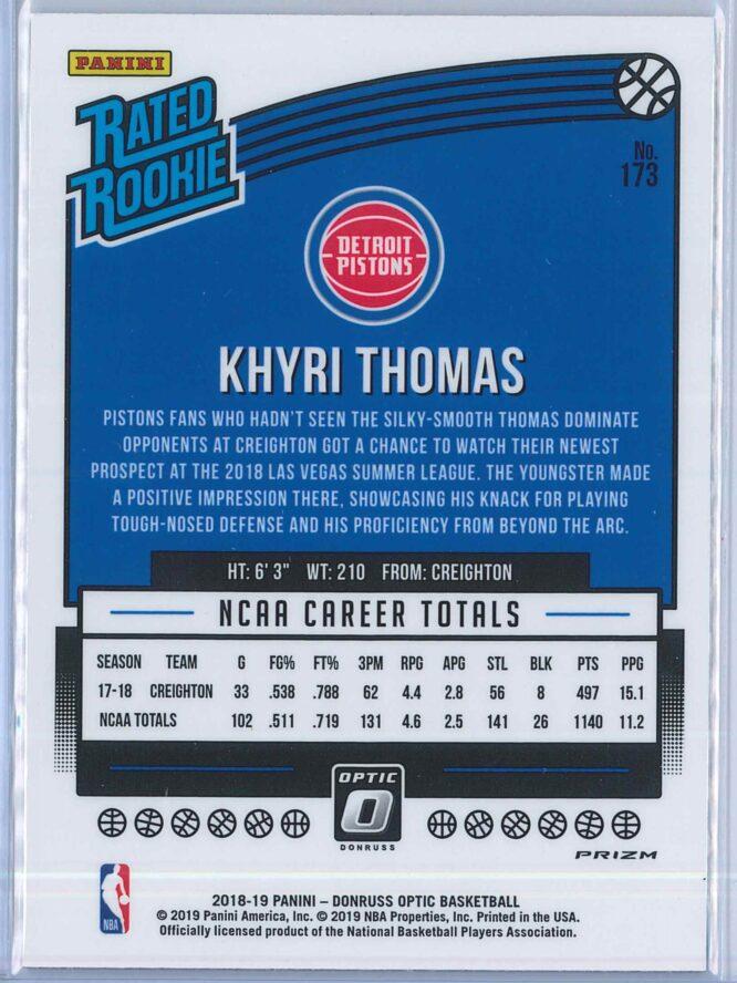 Khyri Thomas Panini Donruss Optic Basketball 2018 19 Rated Rookie Blue Velocity 2