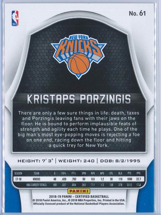 Kristaps Porzingis Panini Certified Basketball 2018 19 Base Red Mirror 071299 2
