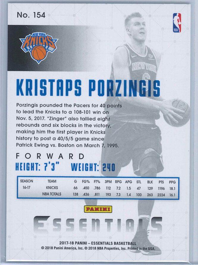 Kristaps Porzingis Panini Essentials Basketball 2017 18 Base Green 2