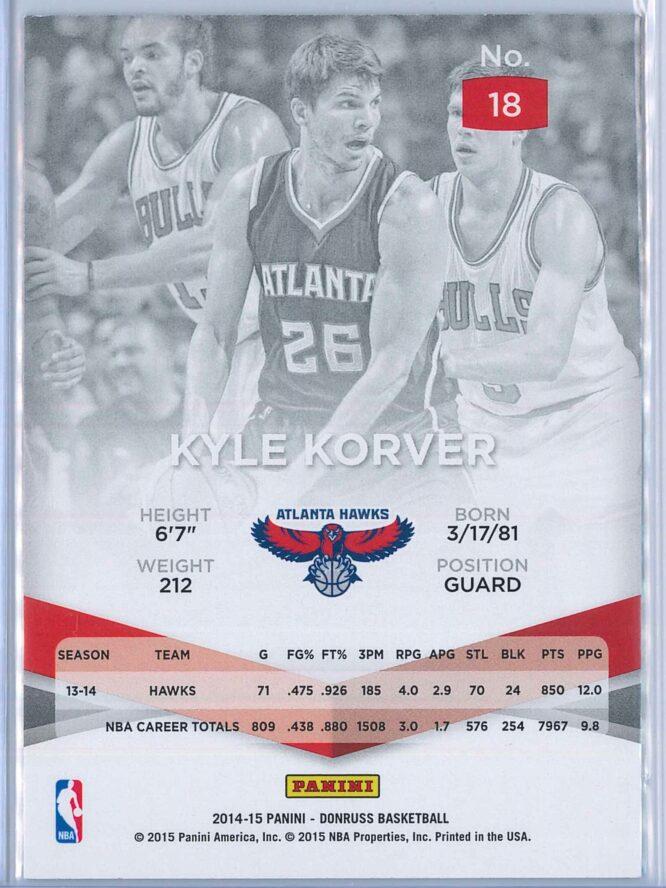Kyle Korver Panini Donruss Basketball 2014 15 Elite 2