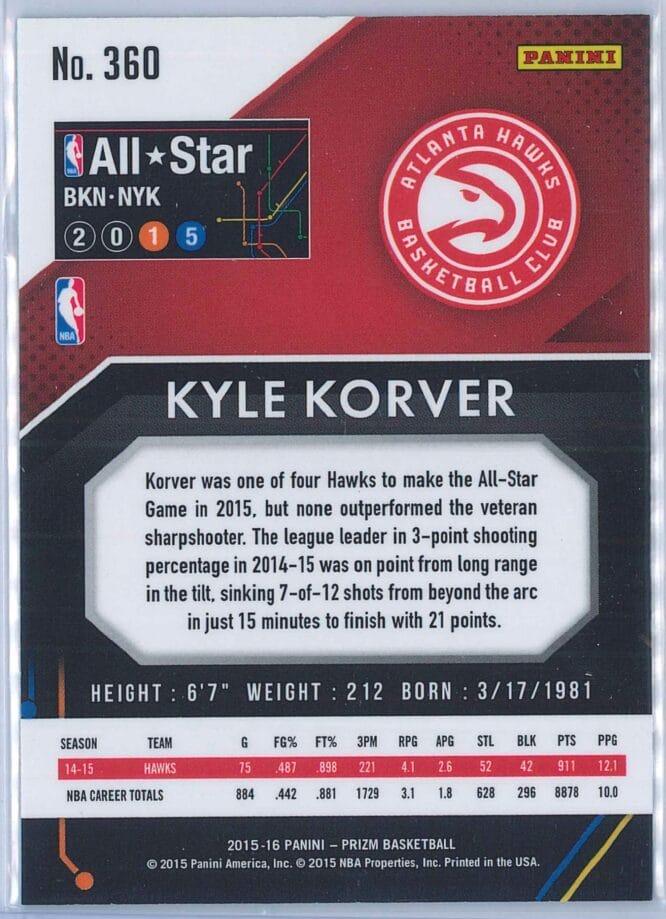 Kyle Korver Panini Prizm Basketball 2015 16 2015 All Star Team Red White Blue Parallel 2