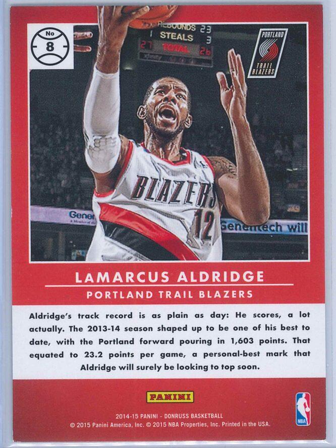 LaMarcus Aldridge Panini Donruss Basketball 2014 15 Production Line Gold Career Stat 037488 2