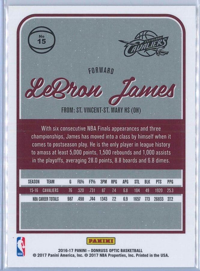 LeBron James Panini Donruss Optic Basketball 2016 17 Base 2