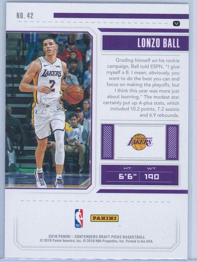 Lonzo Ball Panini Contenders Draft Picks Basketball 2018 19 Base Season Ticket Blue Foil 2