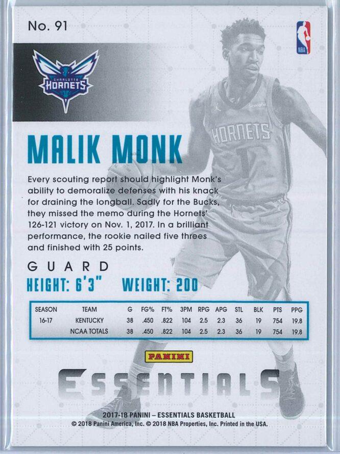 Malik Monk Panini Essentials Basketball 2017 18 Base Green RC 2