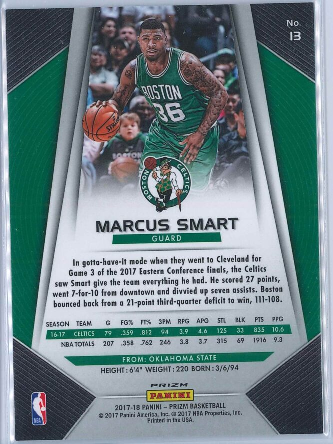 Marcus Smart Panini Prizm Basketball 2017 18 Base Red White Blue Parallel 2