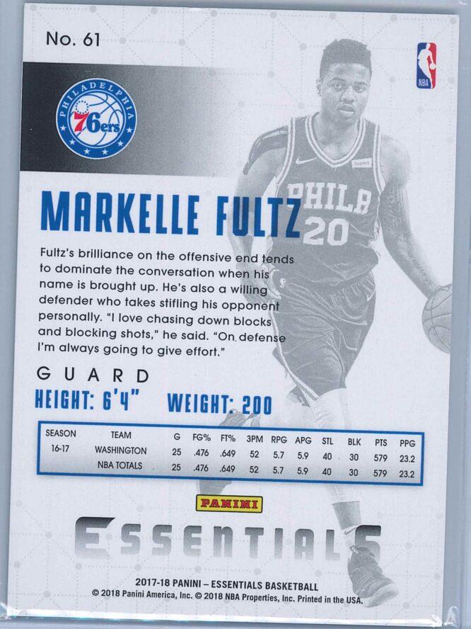 Markelle Fultz Panini Essentials Basketball 2017 18 Base Green RC 2