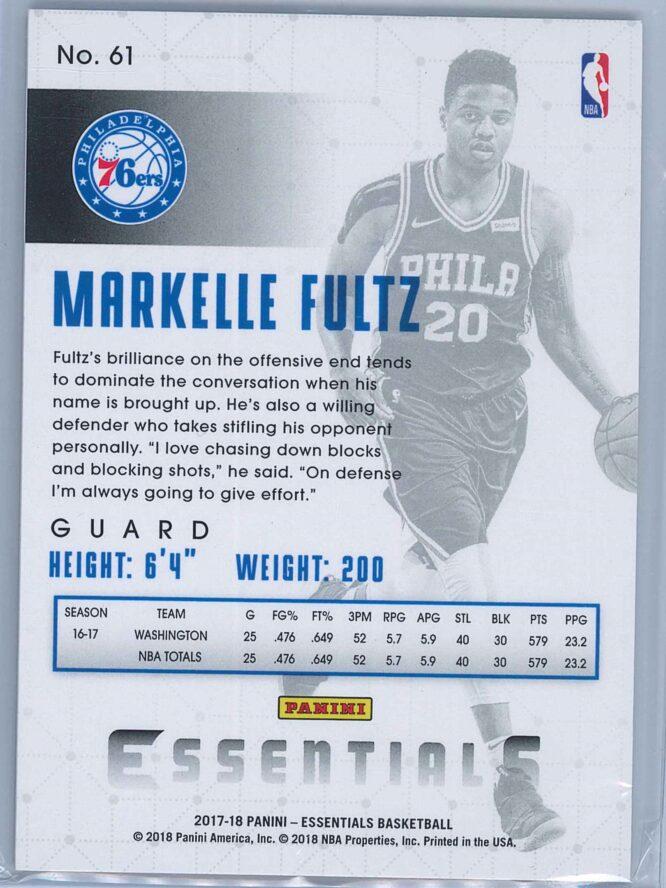 Markelle Fultz Panini Essentials Basketball 2017 18 Base Spiral RC 2