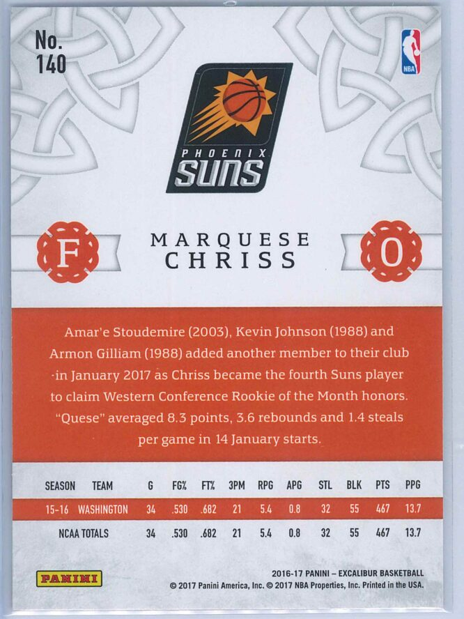 Marquese Chriss Panini Excalibur Basketball 2016 17 Base Viscount Parallel RC 2