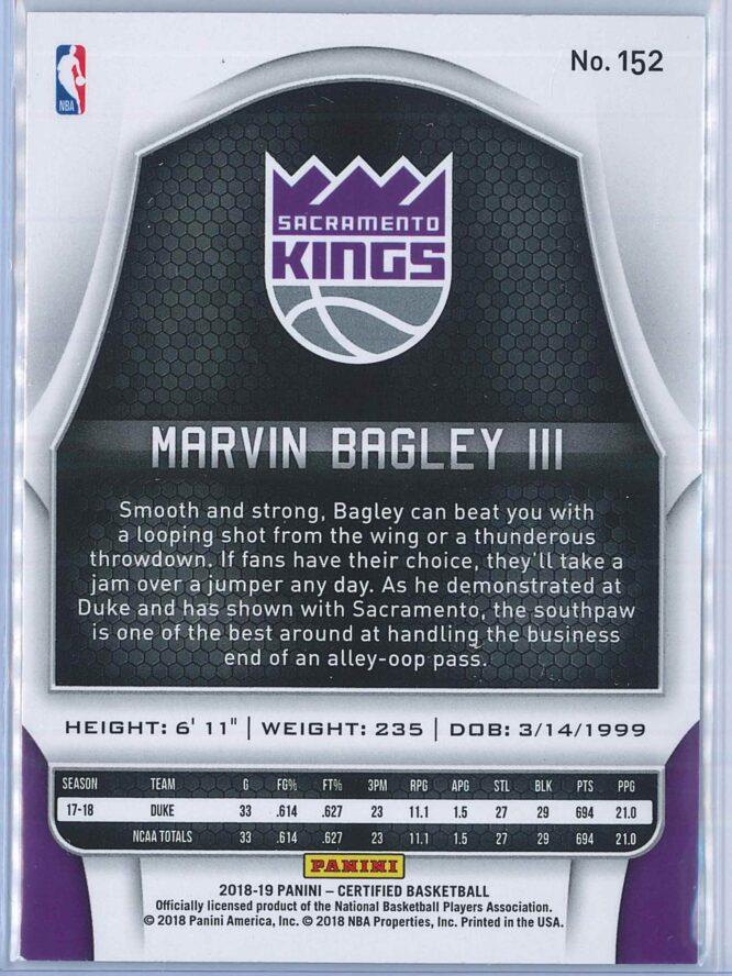 Marvin Bagley III Panini Certified Basketball 2018 19 Base RC 2