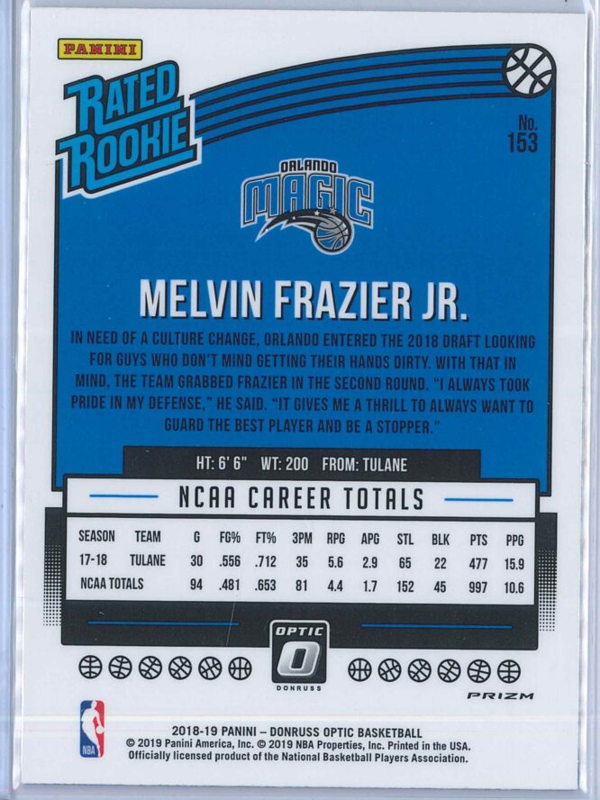Melvin Frazier Jr. Panini Donruss Optic Basketball 2018 19 Rated Rookie Blue Velocity 2