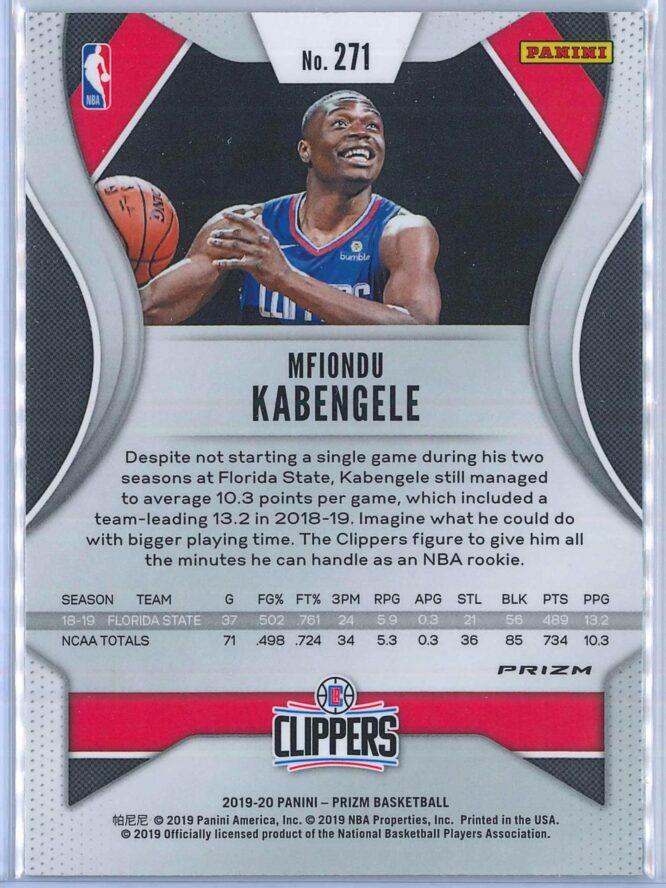 Mfiondu Kabengele Panini Prizm Basketball 2019 20 Base Green Parallel RC 2