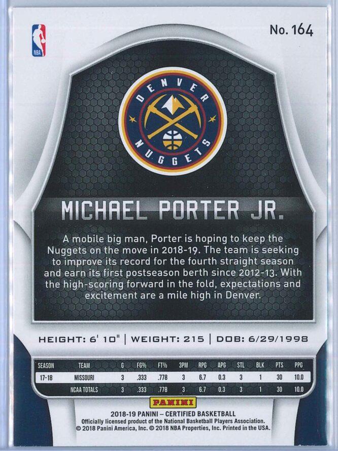 Michael Porter Jr. Panini Certified Basketball 2018 19 Base RC 2