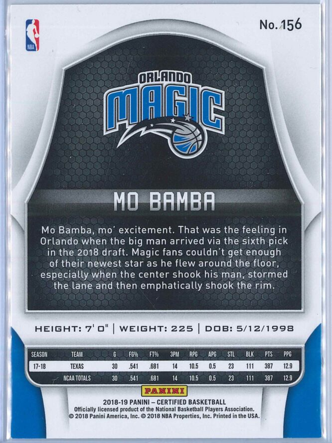 Mo Bamba Panini Certified Basketball 2018 19 Base Red Mirror 150299 RC 2