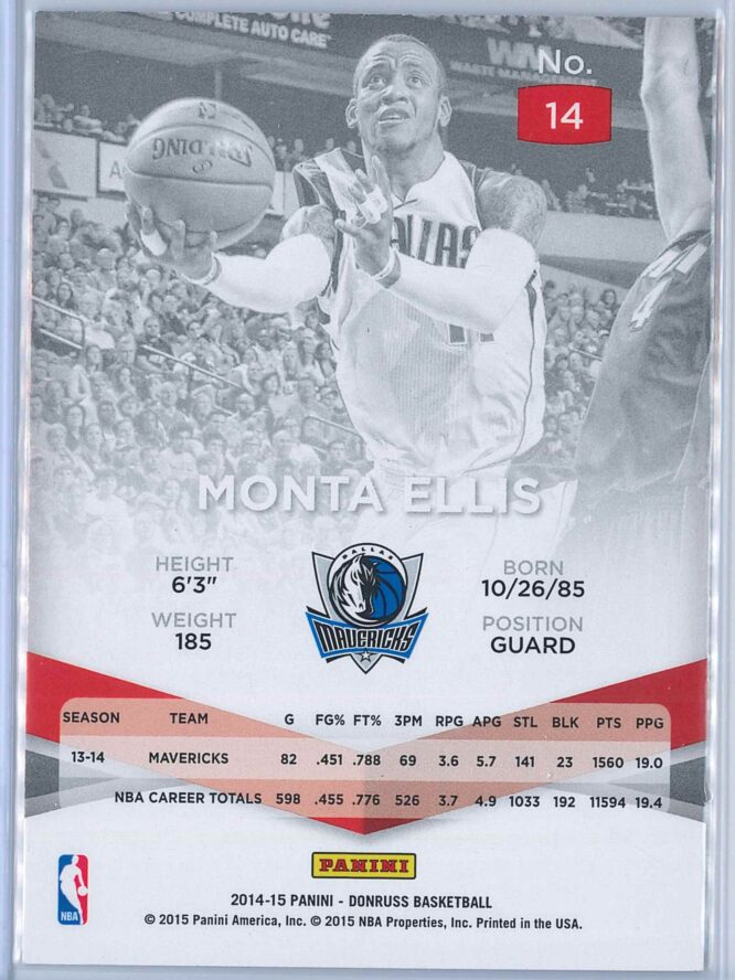 Monta Ellis Panini Donruss Basketball 2014 15 Elite 2