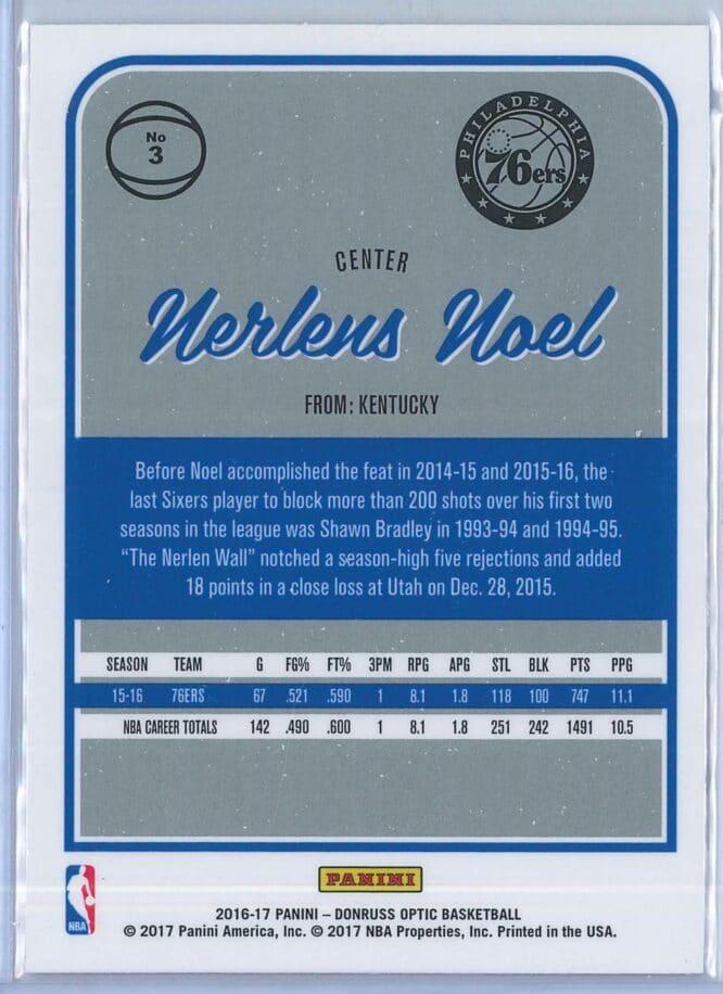 Nerlens Noel Panini Donruss Optic Basketball 2016 17 Base 2