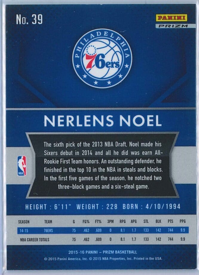 Nerlens Noel Panini Prizm Basketball 2015 16 Base Red White Blue Parallel 2