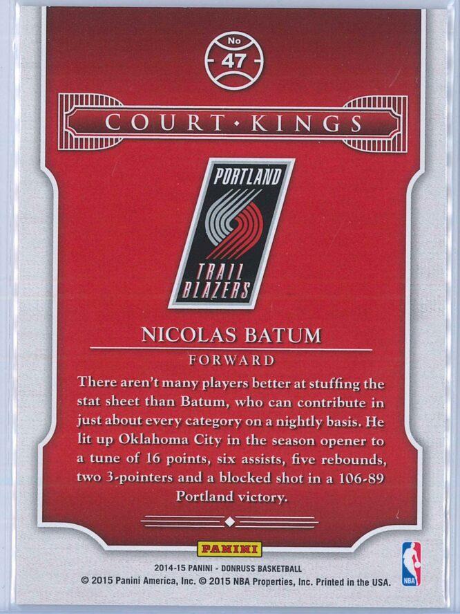 Nicolas Batum Panini Donruss Basketball 2014 15 Court Kings Purple Press Proof 120199 2