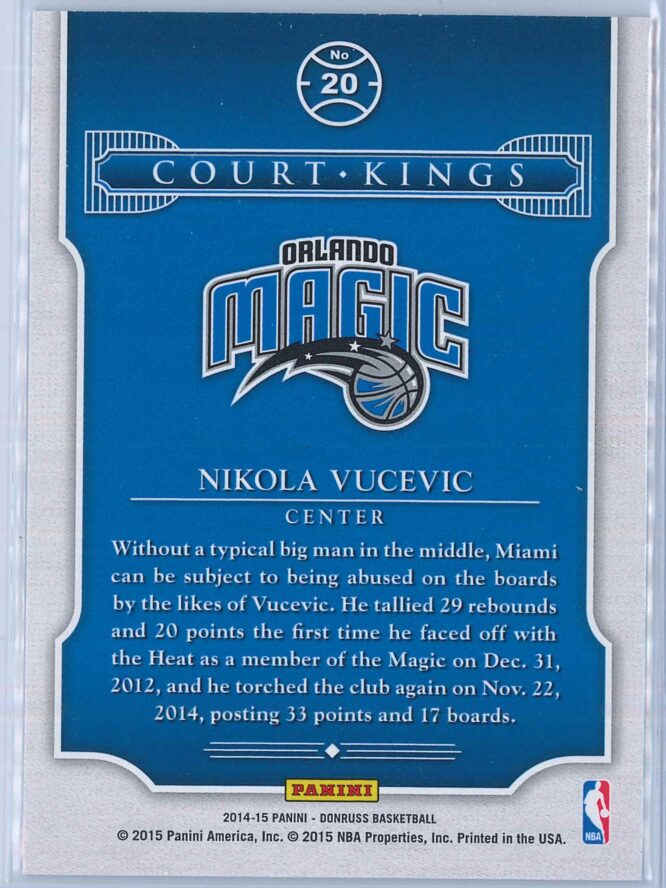 Nikola Vucevic Panini Donruss Basketball 2014 15 Court Kings 2