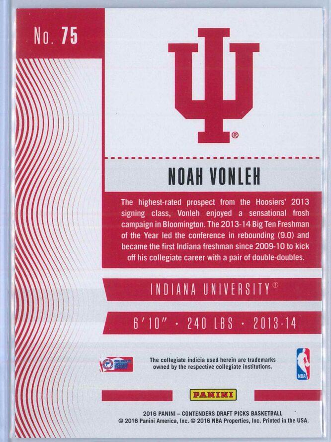 Noah Vonleh Panini Contenders Draft Picks Basketball 2016 17 Base Season Ticket 2