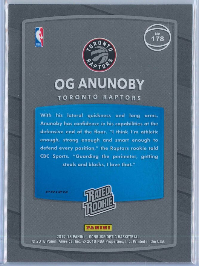 OG Anunoby Panini Donruss Optic Basketball 2017 18 Rated Rookie Holo Fast Break Parallel 2