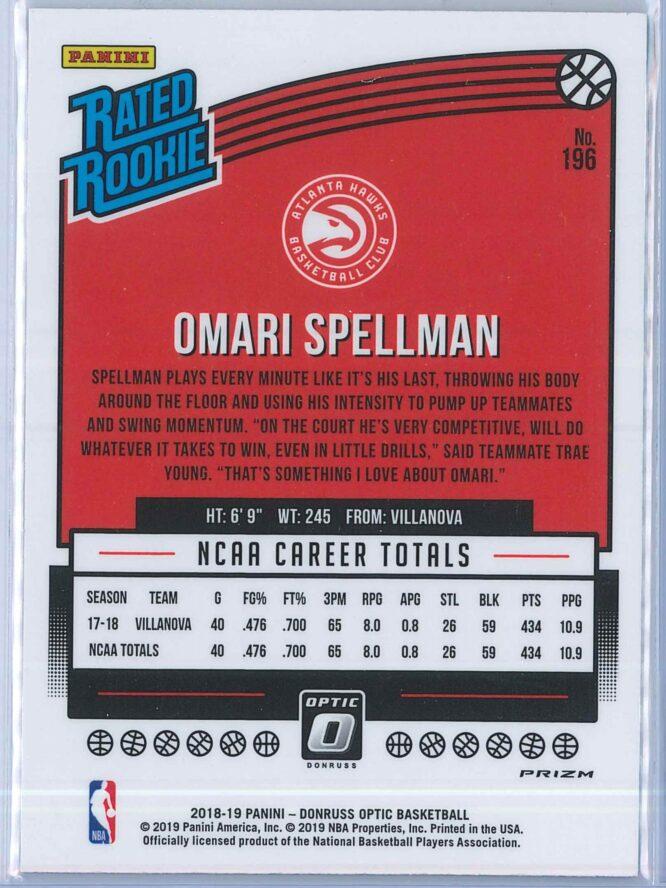 Omari Spellman Panini Donruss Optic Basketball 2018 19 Rated Rookie Blue Velocity 2