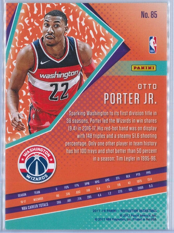 Otto Porter Jr. Panini Revolution Basketball 2017 18 Base Chinese New Year Parallel 2